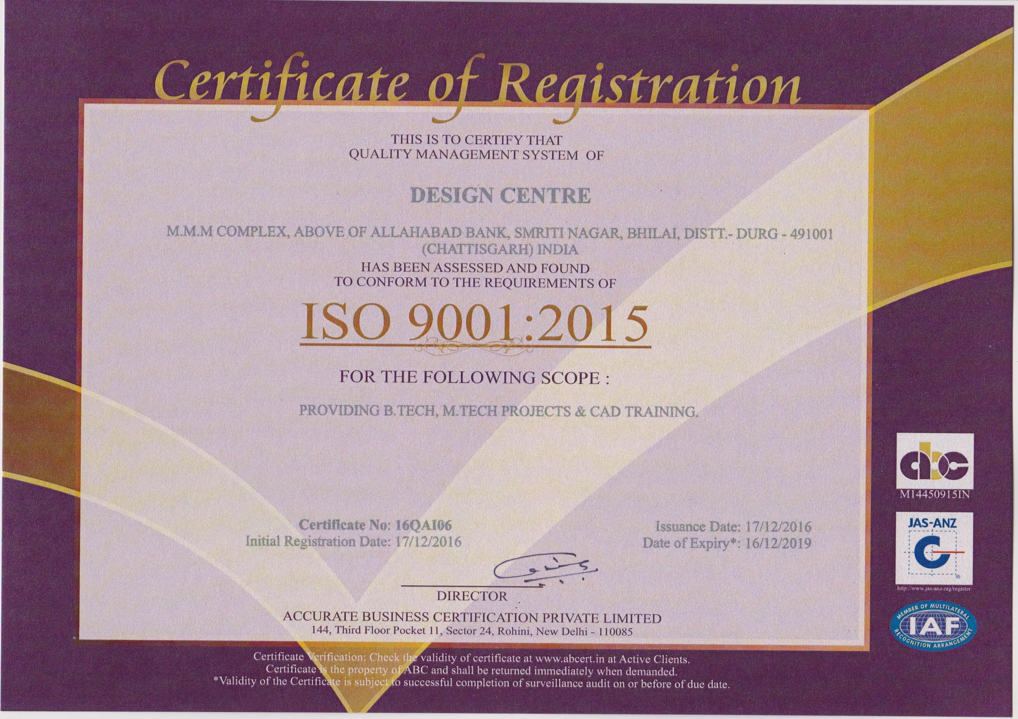 Certification My Design Centre